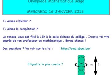 Olympiade Mathématique Belge, inscris-toi vite !