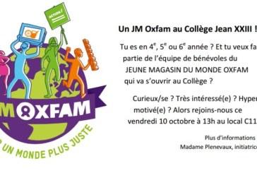 Un JM Oxfam au Collège Jean XXIII !