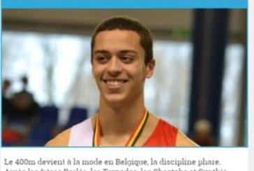 Sohaib, champion de Belgique du 400m indoor catégorie scolaires